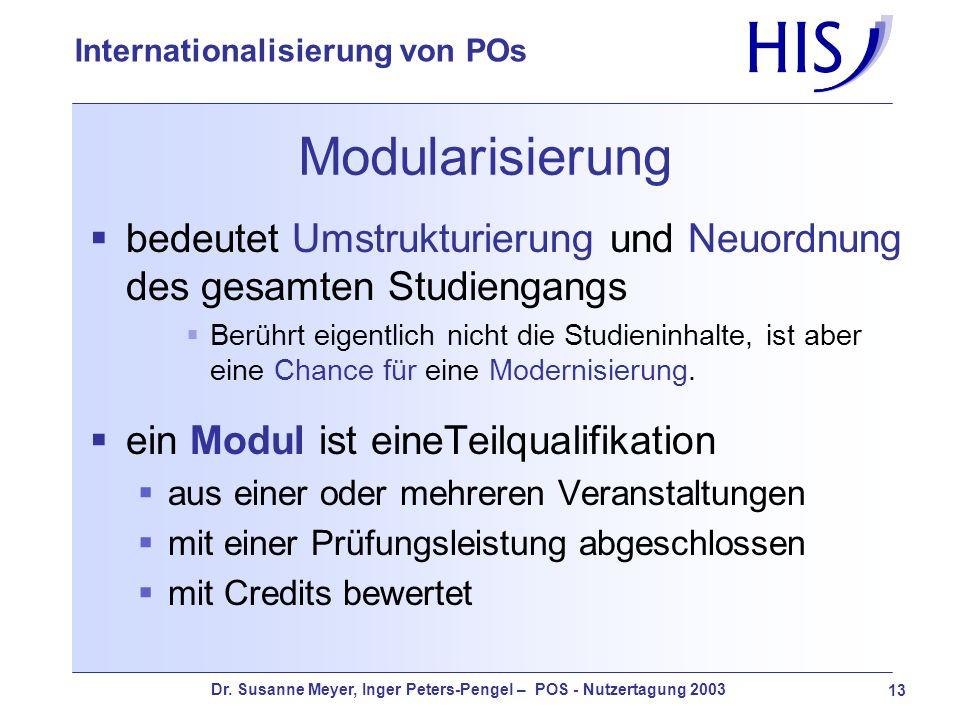 Modularisierungbedeutet Umstrukturierung und Neuordnung des gesamten Studiengangs.