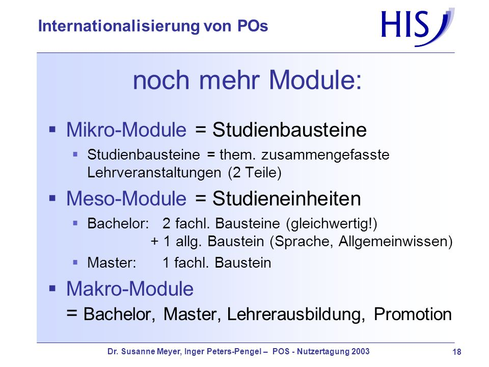 noch mehr Module: Mikro-Module = Studienbausteine