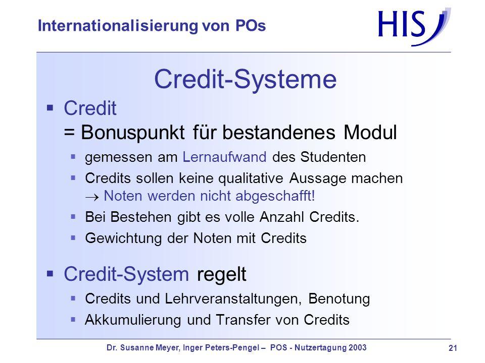 Credit-Systeme Credit = Bonuspunkt für bestandenes Modul