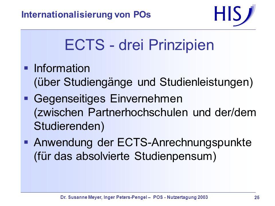 ECTS - drei Prinzipien Information (über Studiengänge und Studienleistungen)