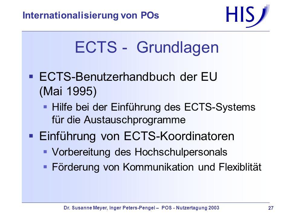 ECTS - Grundlagen ECTS-Benutzerhandbuch der EU (Mai 1995)