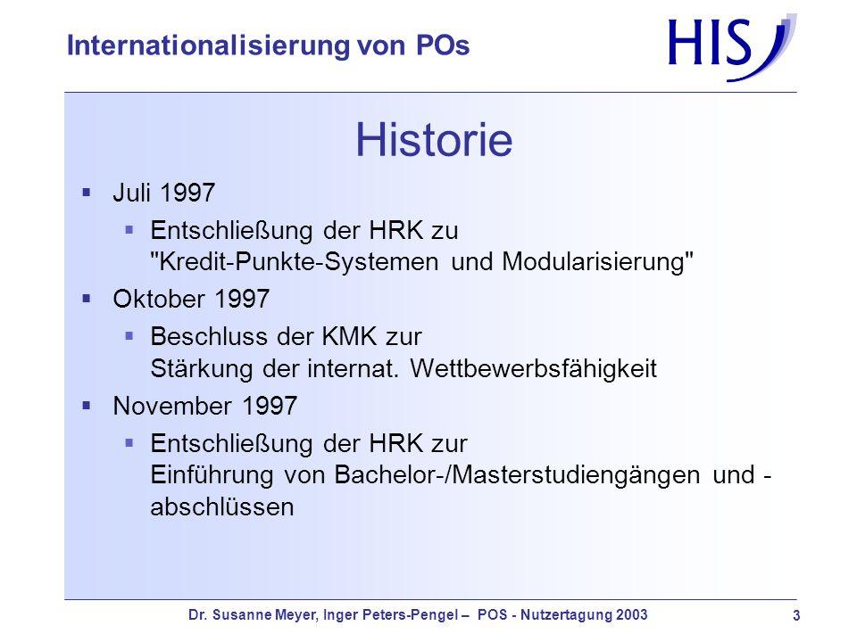 Historie Juli 1997. Entschließung der HRK zu Kredit-Punkte-Systemen und Modularisierung Oktober 1997.