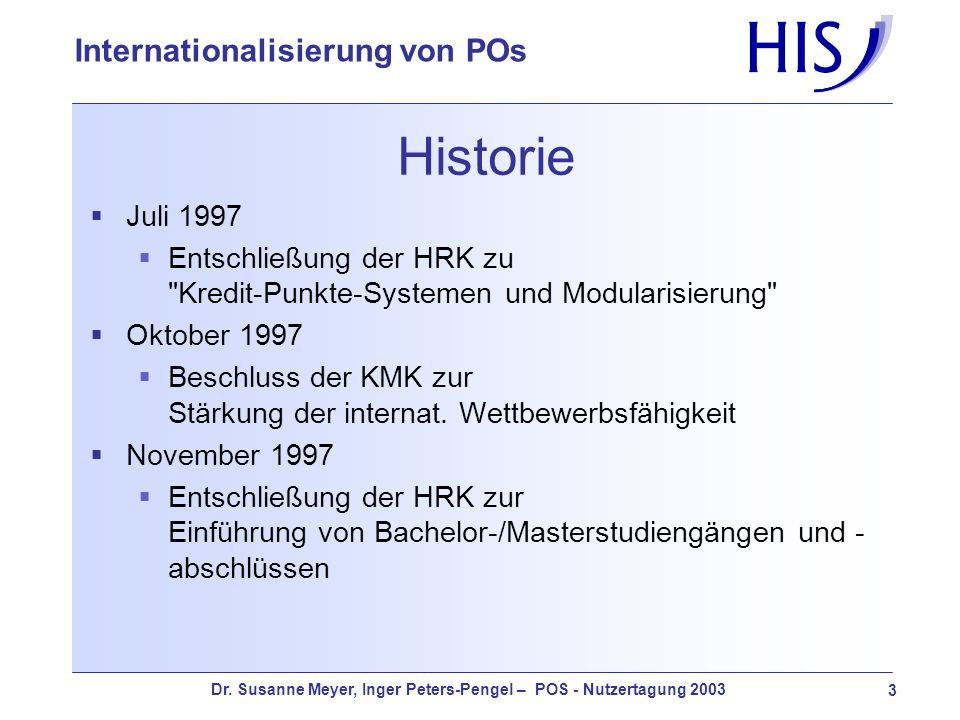 HistorieJuli 1997. Entschließung der HRK zu Kredit-Punkte-Systemen und Modularisierung Oktober 1997.