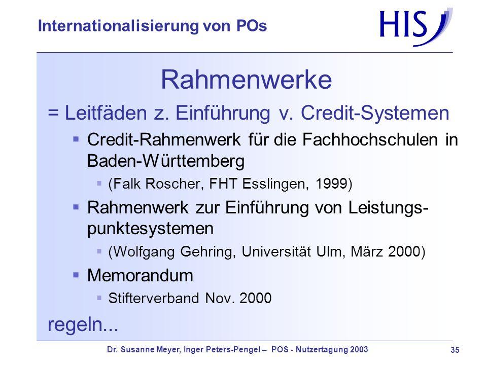 Rahmenwerke = Leitfäden z. Einführung v. Credit-Systemen regeln...
