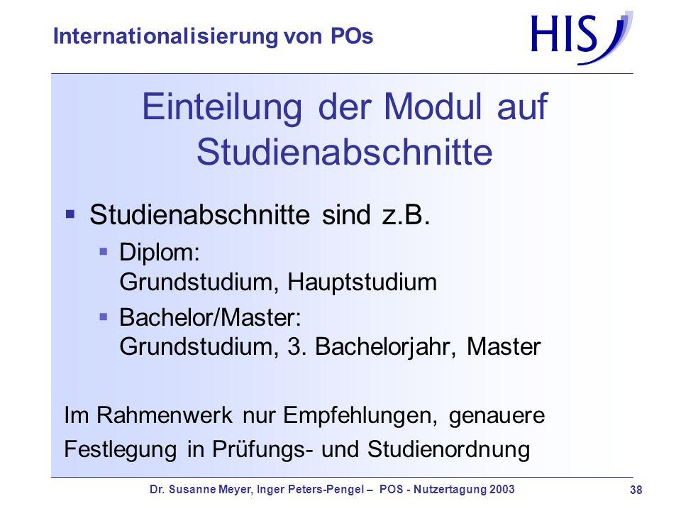 Einteilung der Modul auf Studienabschnitte
