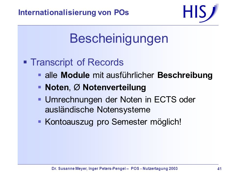 Bescheinigungen Transcript of Records