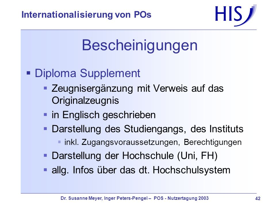 Bescheinigungen Diploma Supplement