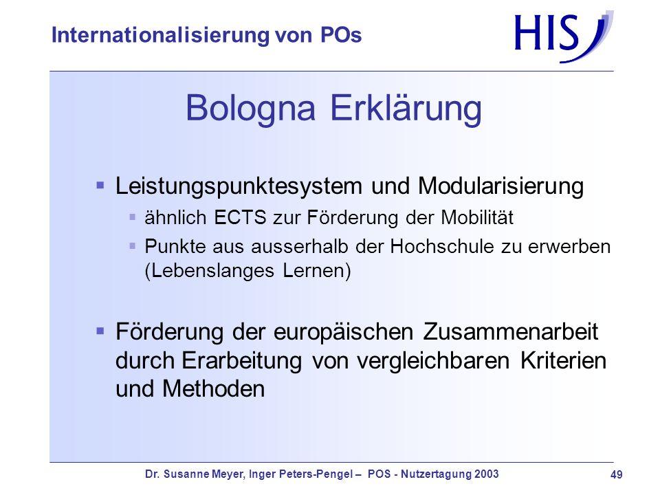 Bologna Erklärung Leistungspunktesystem und Modularisierung
