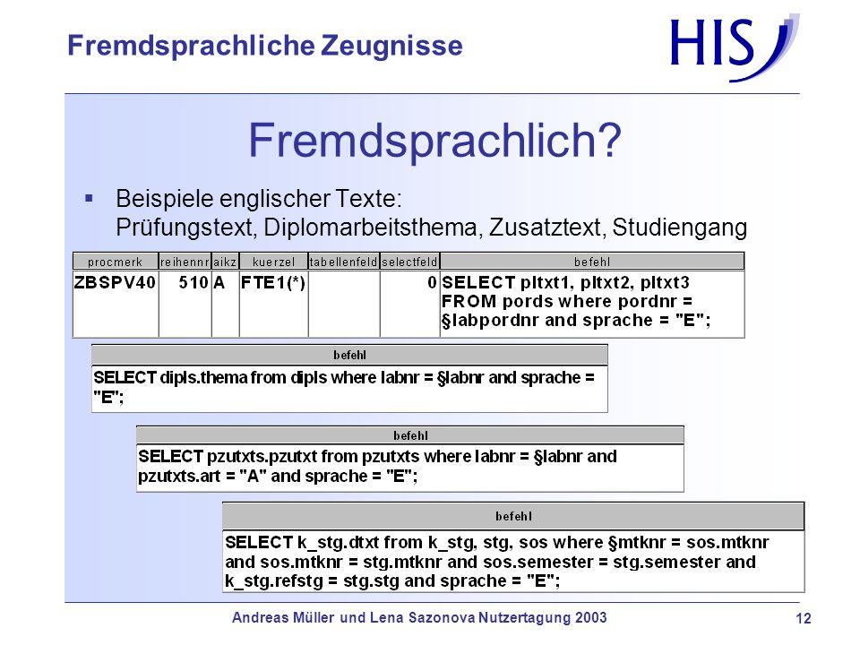 Fremdsprachlich Beispiele englischer Texte: Prüfungstext, Diplomarbeitsthema, Zusatztext, Studiengang.