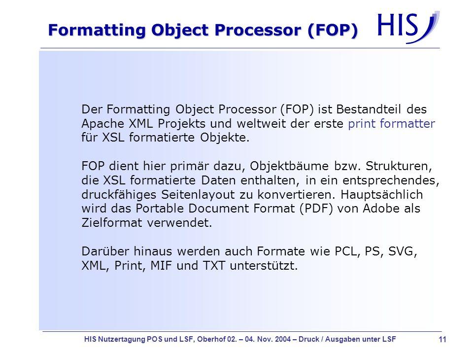 Formatting Object Processor (FOP)