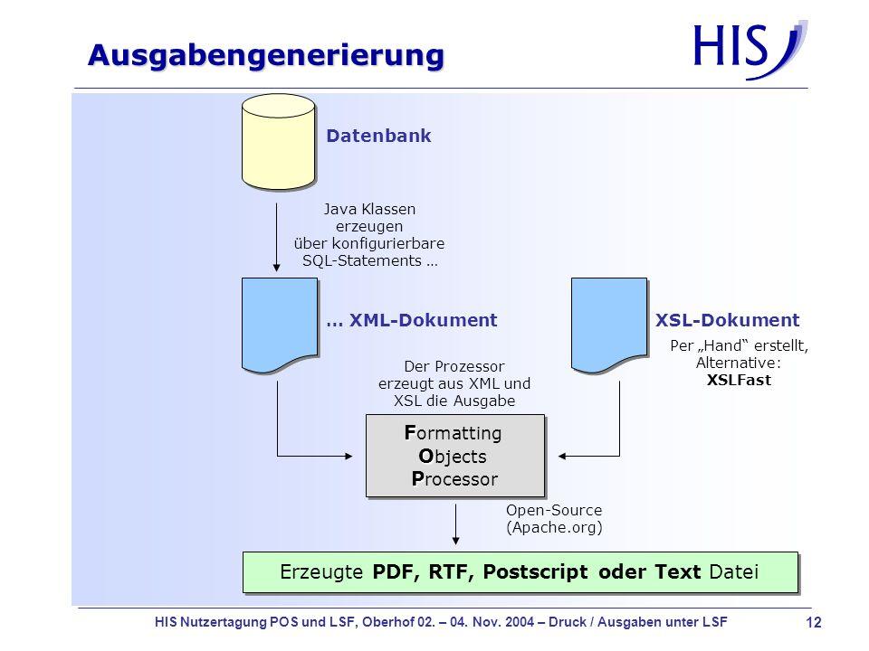 Ausgabengenerierung Formatting Objects Processor