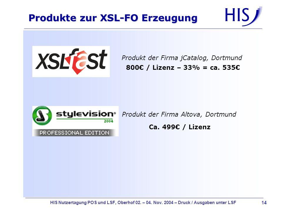 Produkte zur XSL-FO Erzeugung