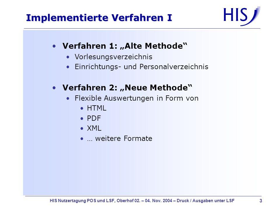Implementierte Verfahren I