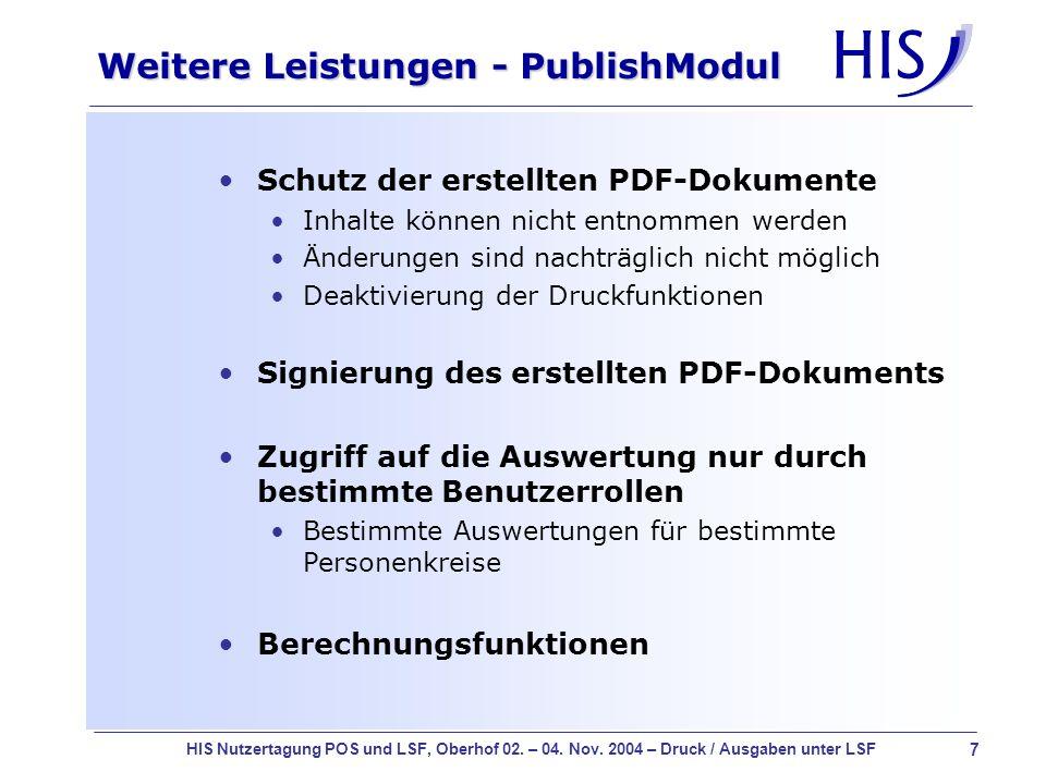 Weitere Leistungen - PublishModul