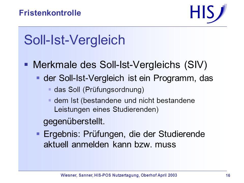 Soll-Ist-Vergleich Merkmale des Soll-Ist-Vergleichs (SIV)