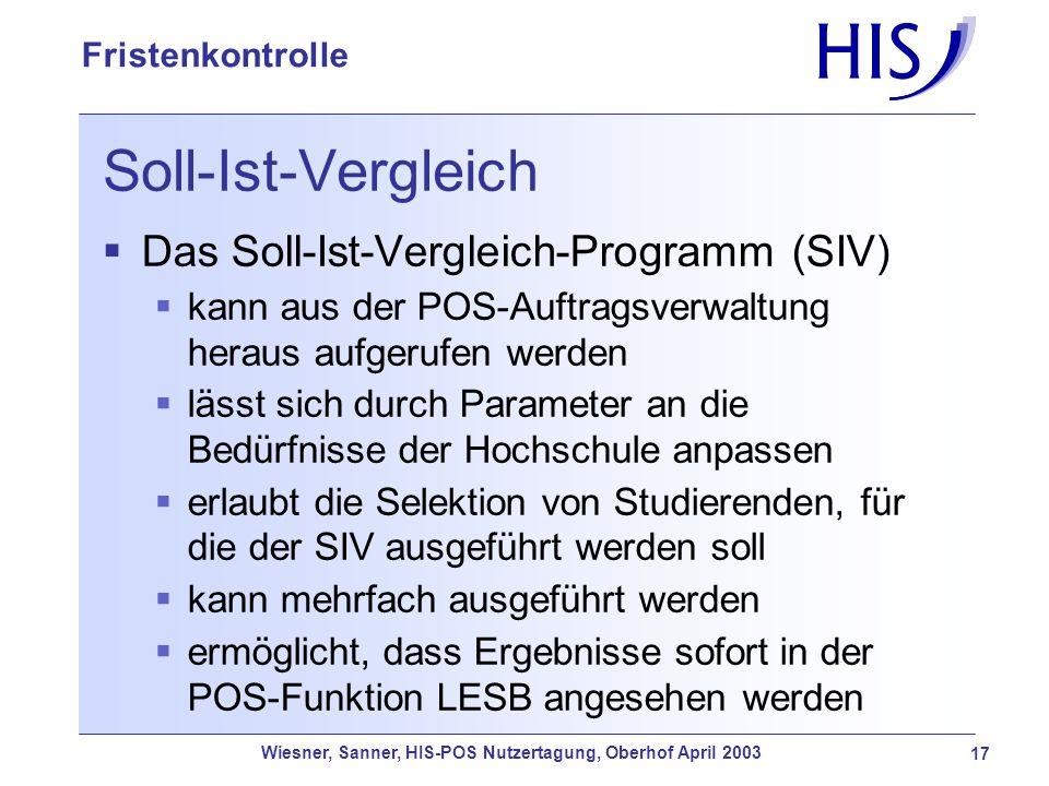Soll-Ist-Vergleich Das Soll-Ist-Vergleich-Programm (SIV)