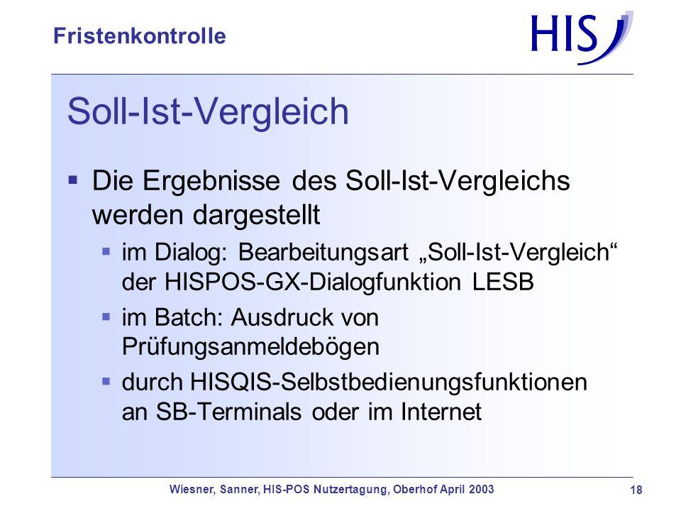 Soll-Ist-Vergleich Die Ergebnisse des Soll-Ist-Vergleichs werden dargestellt.