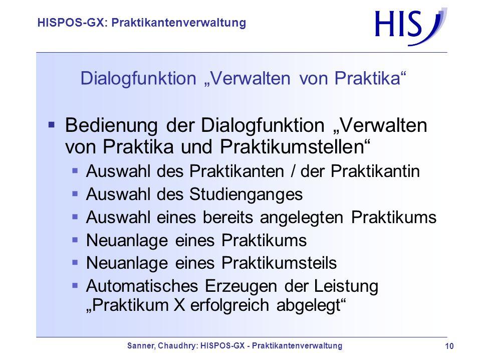 """Dialogfunktion """"Verwalten von Praktika"""