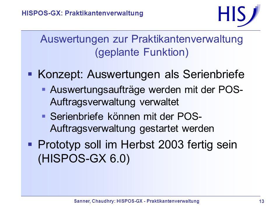 Auswertungen zur Praktikantenverwaltung (geplante Funktion)