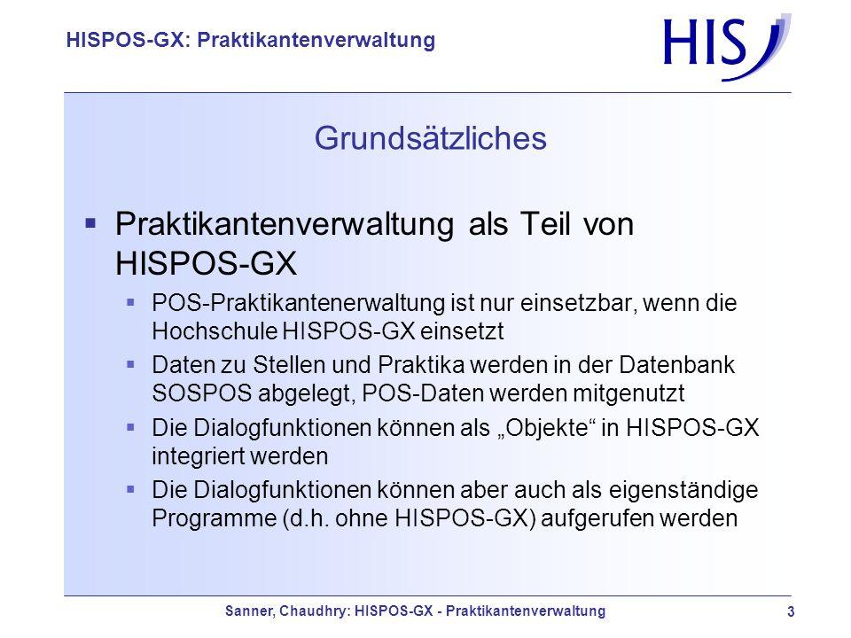 Praktikantenverwaltung als Teil von HISPOS-GX
