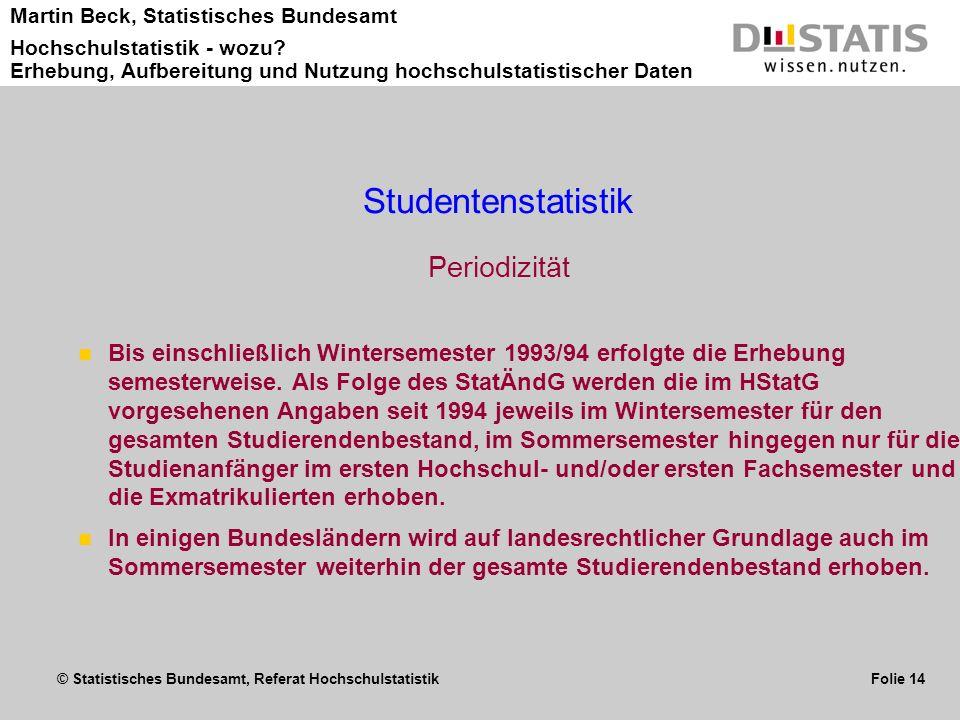 Studentenstatistik Periodizität