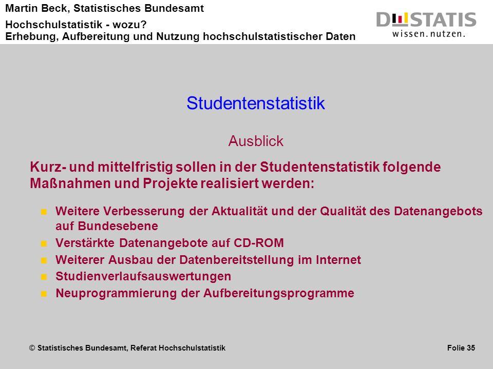Studentenstatistik Ausblick