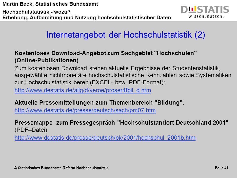 Internetangebot der Hochschulstatistik (2)