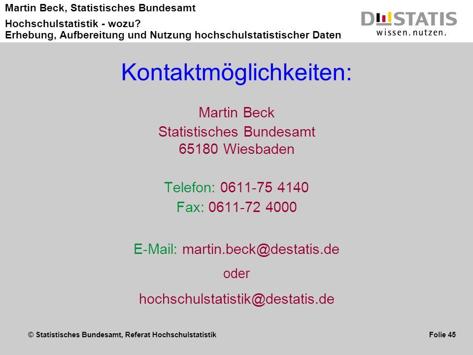 Kontaktmöglichkeiten: Martin Beck