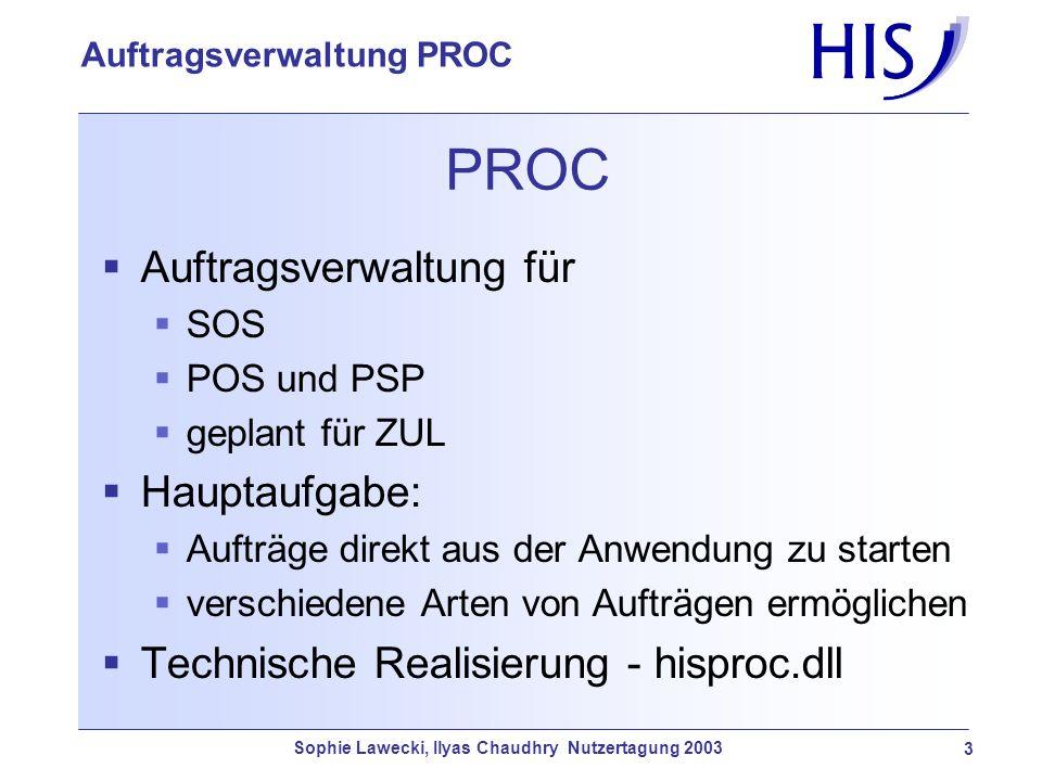 PROC Auftragsverwaltung für Hauptaufgabe: