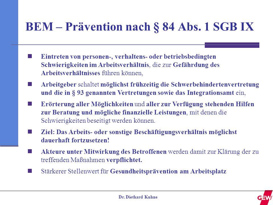 BEM – Prävention nach § 84 Abs. 1 SGB IX