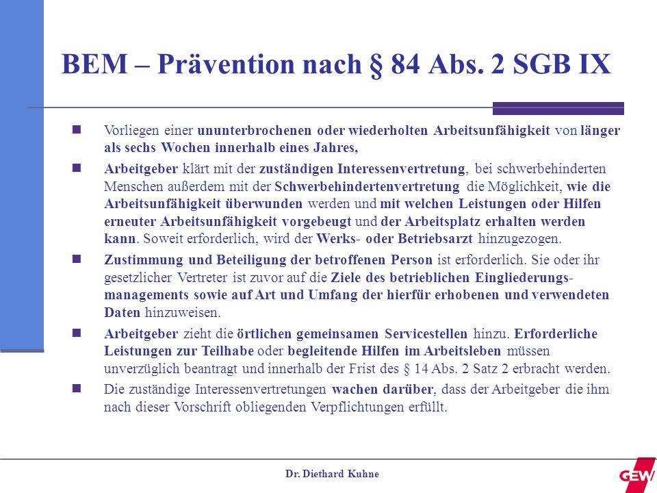 BEM – Prävention nach § 84 Abs. 2 SGB IX