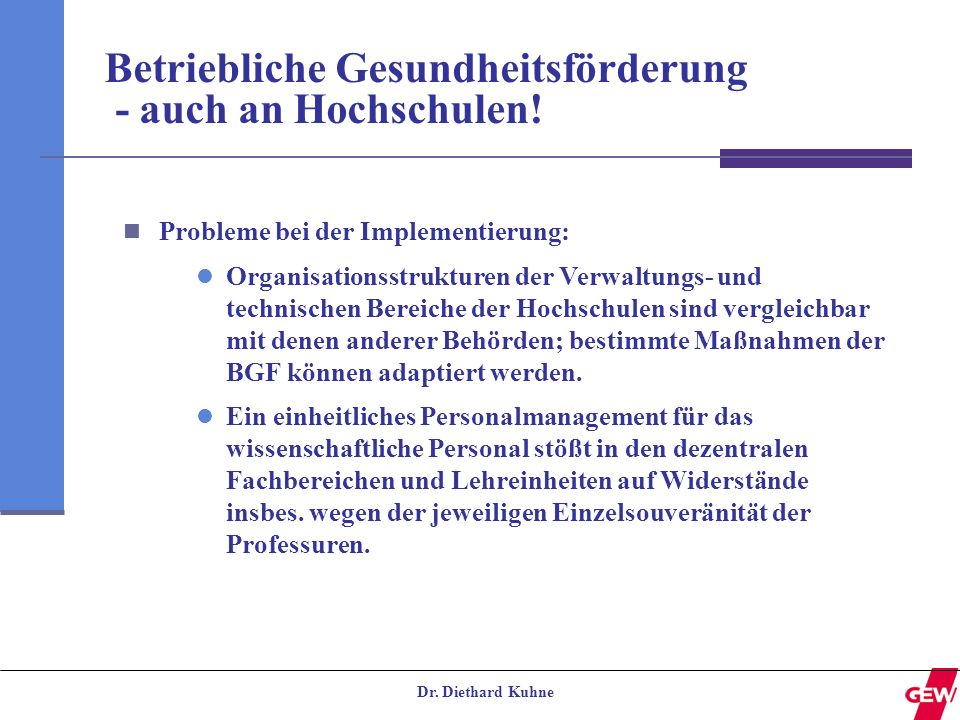 Betriebliche Gesundheitsförderung - auch an Hochschulen!