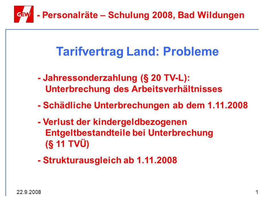 Tarifvertrag Land: Probleme
