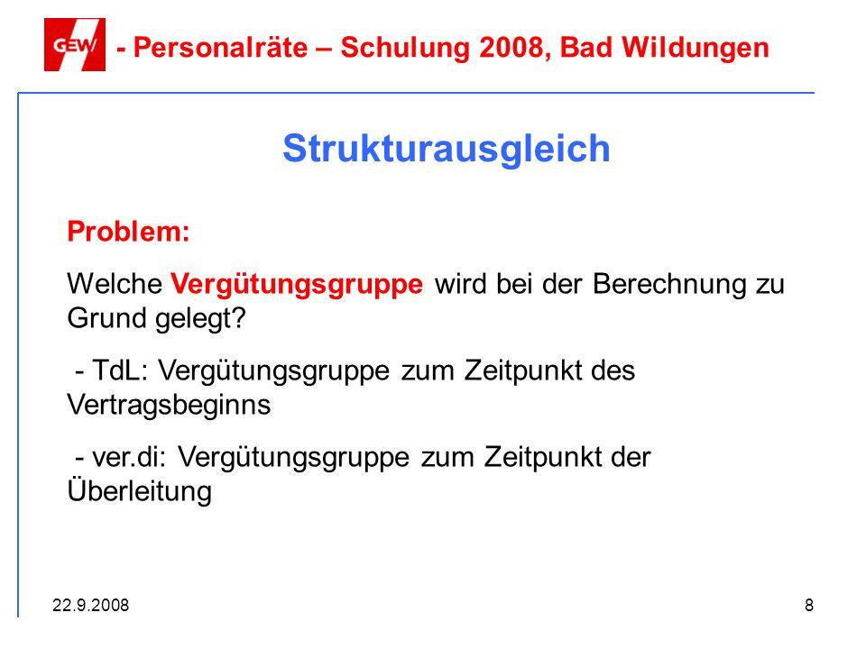 Strukturausgleich - Personalräte – Schulung 2008, Bad Wildungen
