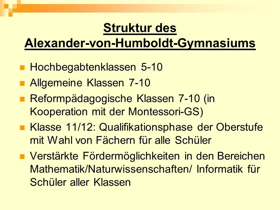 Struktur des Alexander-von-Humboldt-Gymnasiums