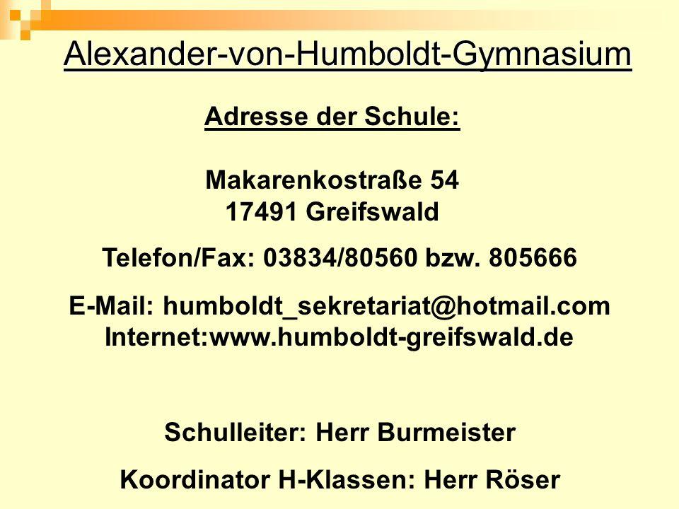 Schulleiter: Herr Burmeister Koordinator H-Klassen: Herr Röser