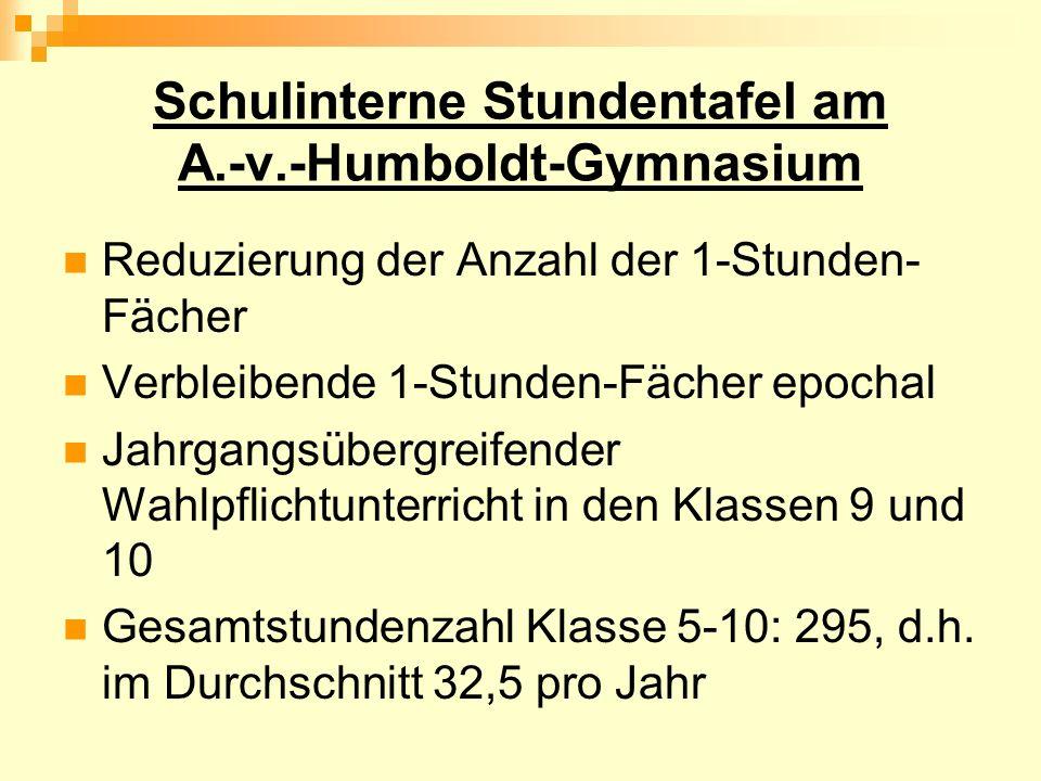 Schulinterne Stundentafel am A.-v.-Humboldt-Gymnasium