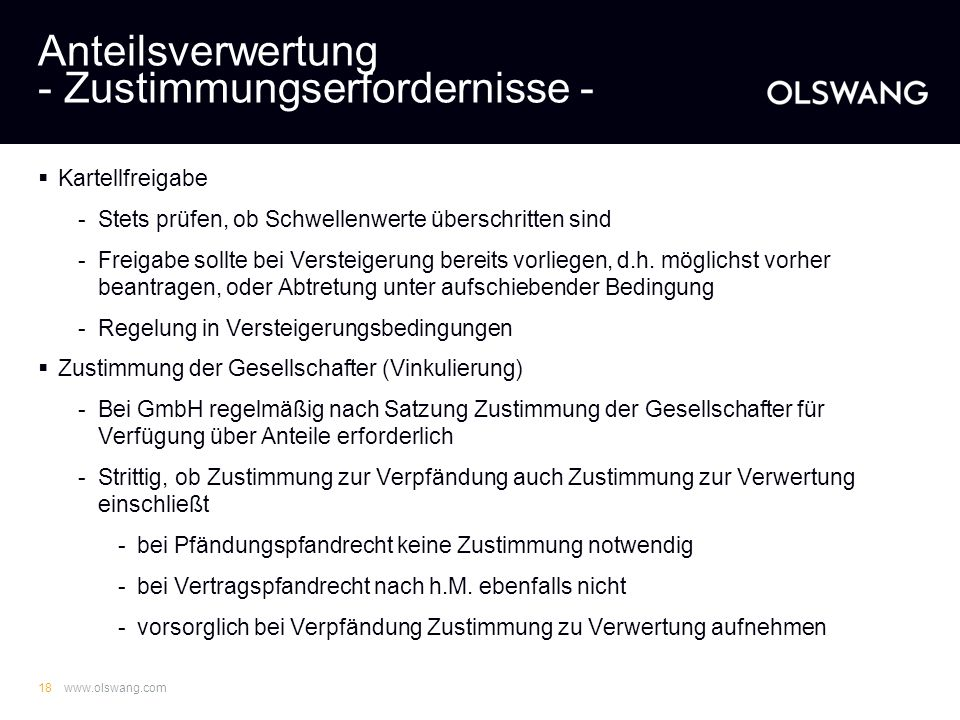 Anteilsverwertung - Zustimmungserfordernisse -