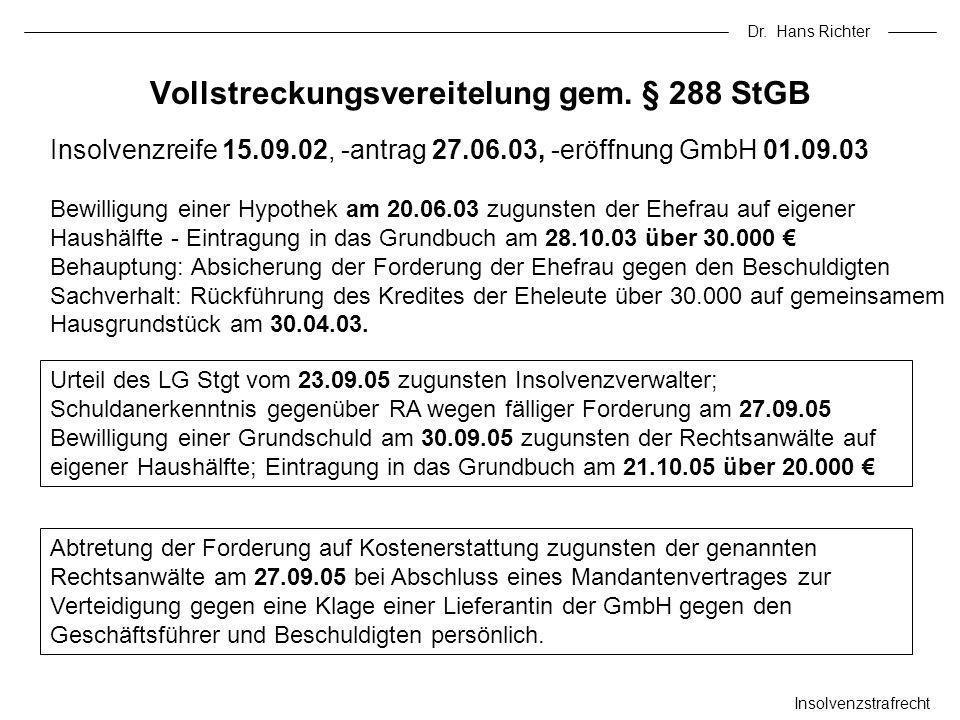 Vollstreckungsvereitelung gem. § 288 StGB