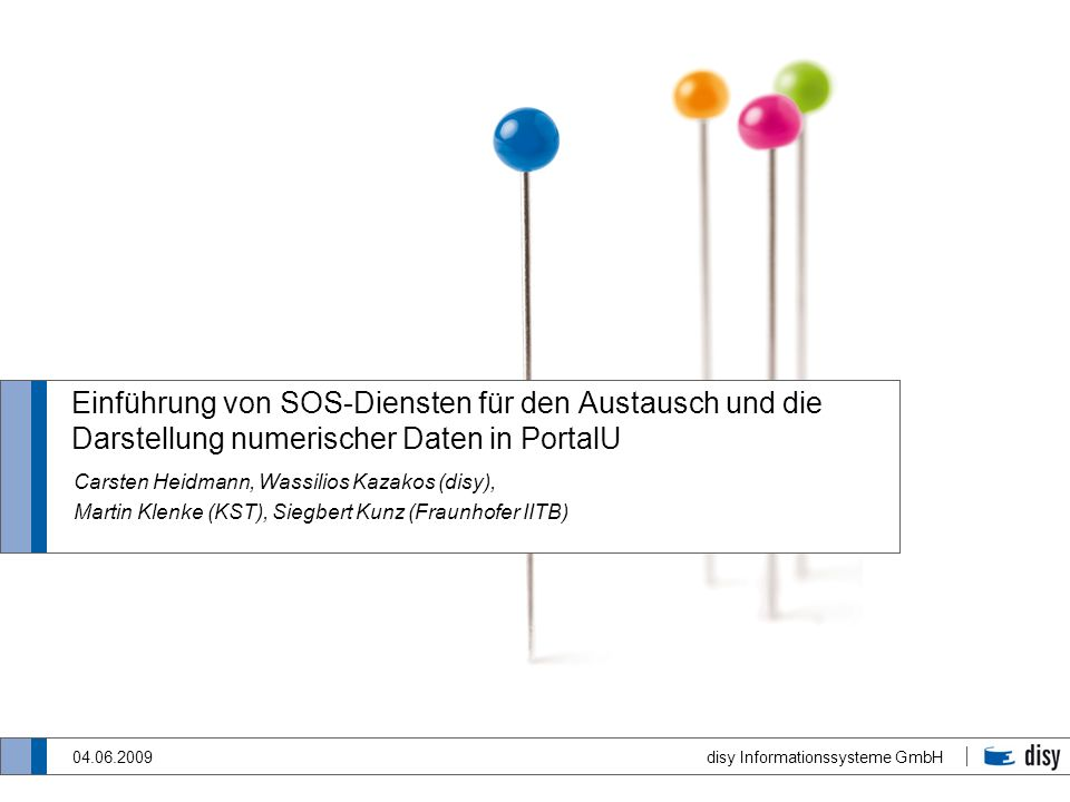 Einführung von SOS-Diensten für den Austausch und die Darstellung numerischer Daten in PortalU
