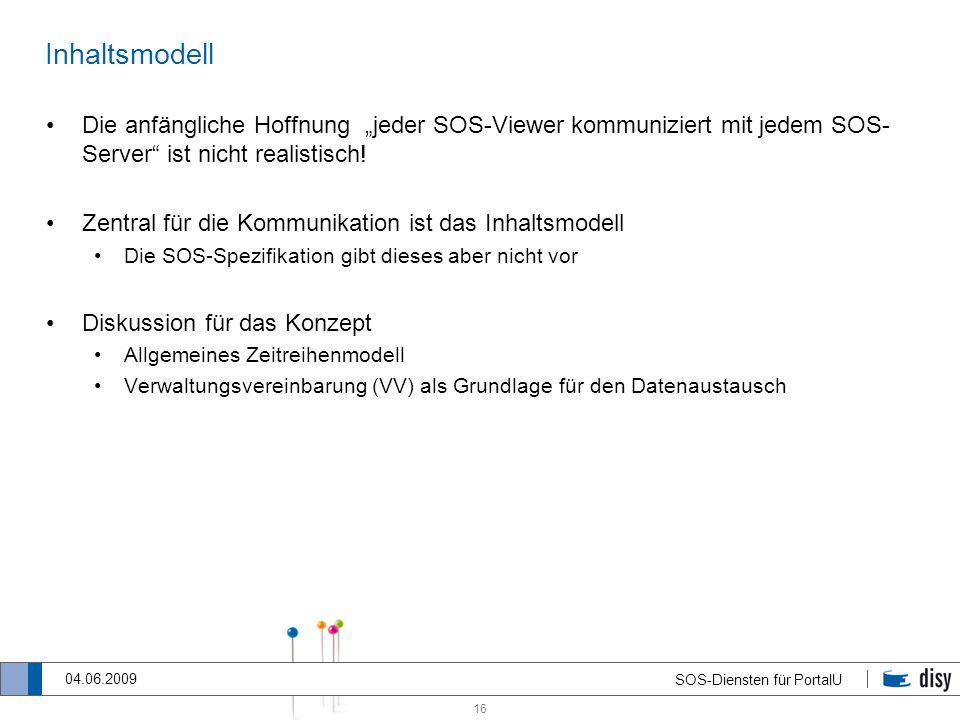 """InhaltsmodellDie anfängliche Hoffnung """"jeder SOS-Viewer kommuniziert mit jedem SOS-Server ist nicht realistisch!"""