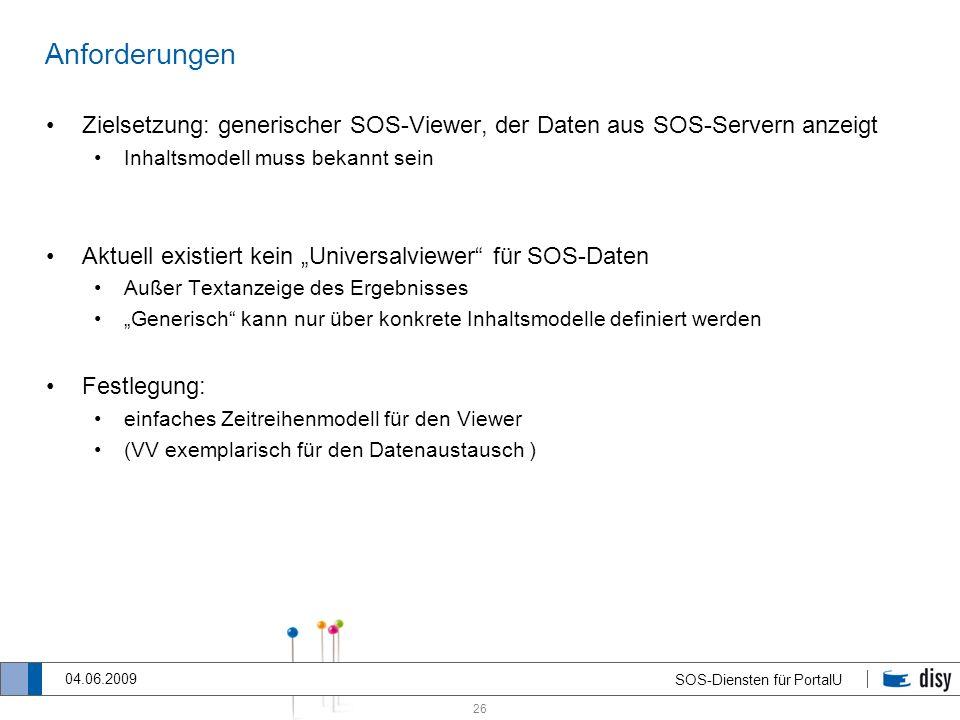 AnforderungenZielsetzung: generischer SOS-Viewer, der Daten aus SOS-Servern anzeigt. Inhaltsmodell muss bekannt sein.
