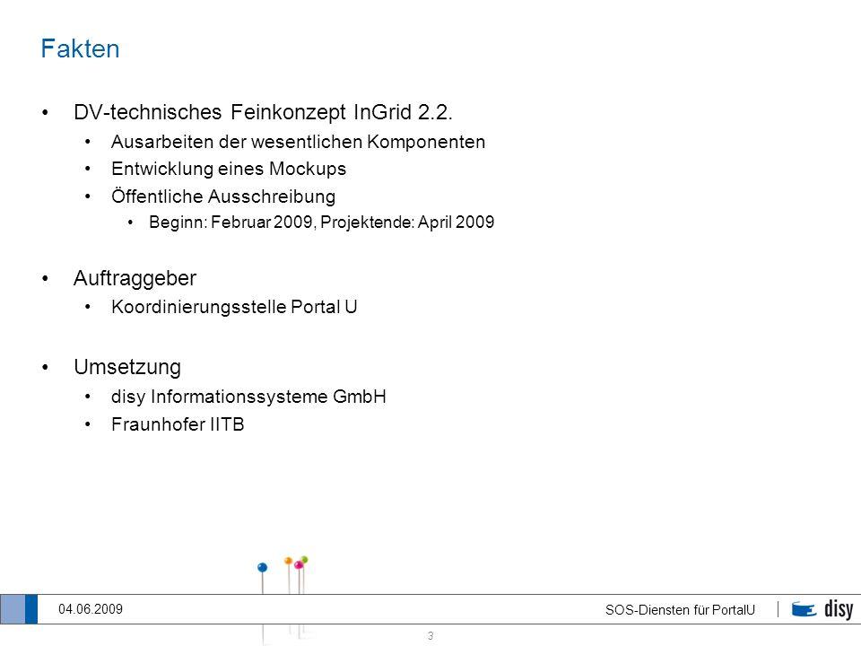 Fakten DV-technisches Feinkonzept InGrid 2.2. Auftraggeber Umsetzung