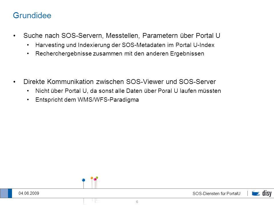 Grundidee Suche nach SOS-Servern, Messtellen, Parametern über Portal U