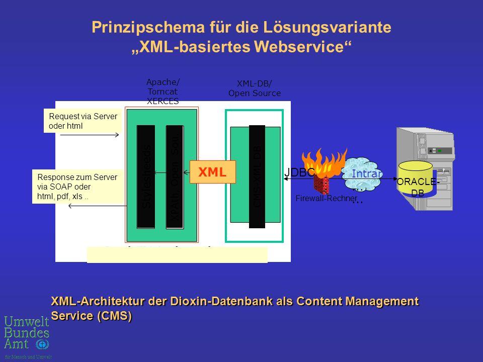 """Prinzipschema für die Lösungsvariante """"XML-basiertes Webservice"""
