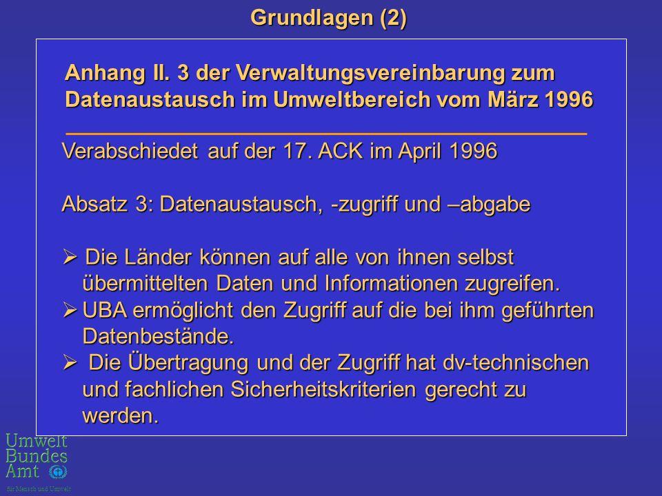 Grundlagen (2) Anhang II. 3 der Verwaltungsvereinbarung zum Datenaustausch im Umweltbereich vom März 1996.