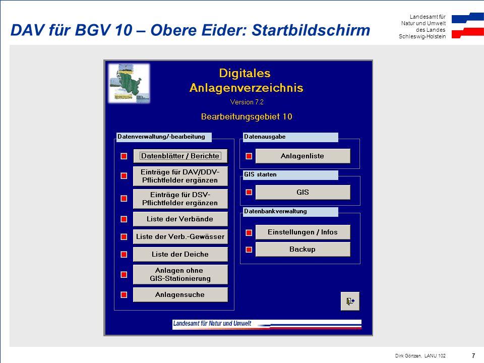 DAV für BGV 10 – Obere Eider: Startbildschirm