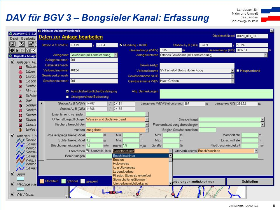 DAV für BGV 3 – Bongsieler Kanal: Erfassung
