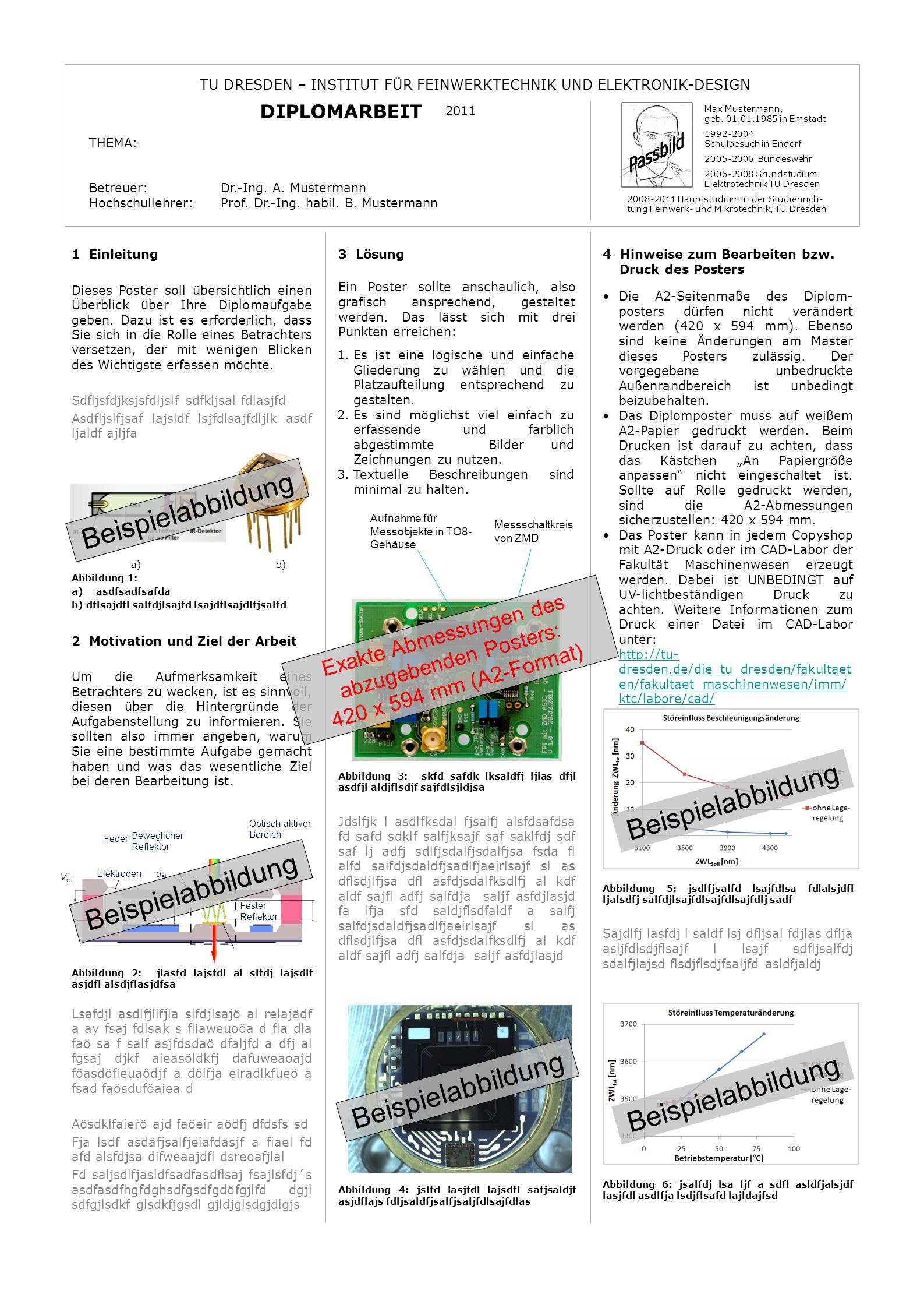 Exakte Abmessungen des abzugebenden Posters: 420 x 594 mm (A2-Format)