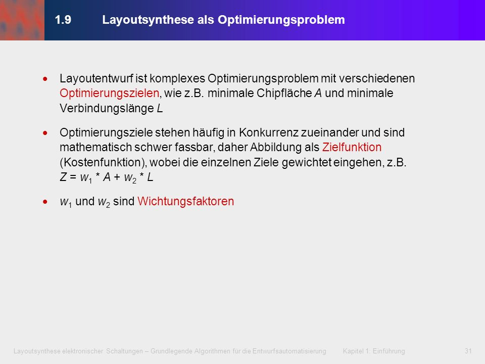 1.9 Layoutsynthese als Optimierungsproblem